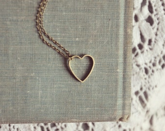 hollow brass heart necklace.