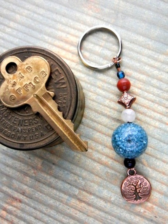 Tree of Life charm key chain with teal blue crackle ball, carnelian & copper // key ring // bag or backpack charm // ornament