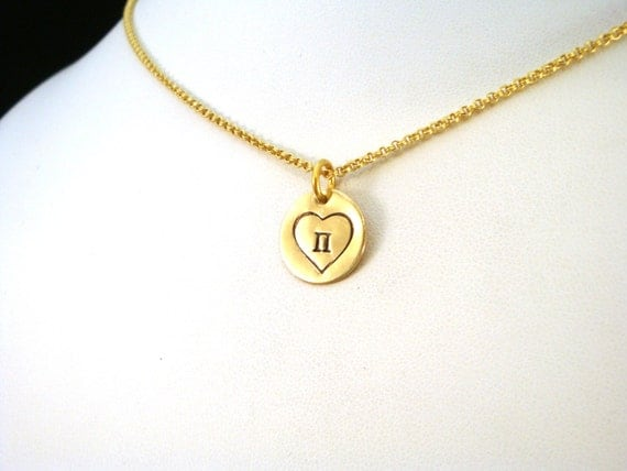 I Love Pi Necklace in Jewelers Brass