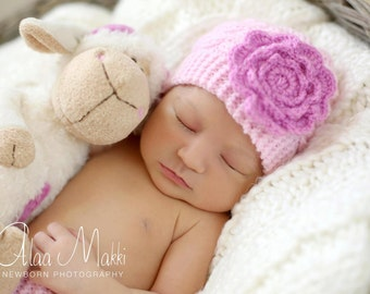 newborn photo prop, lovely cabled beanie with a large flower, newborn props, newborn girl, baby hat, newborn knit hat, pink hat, knit hats