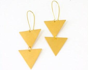 Vintage inspired brass bohemian upside down large double triangle earrings