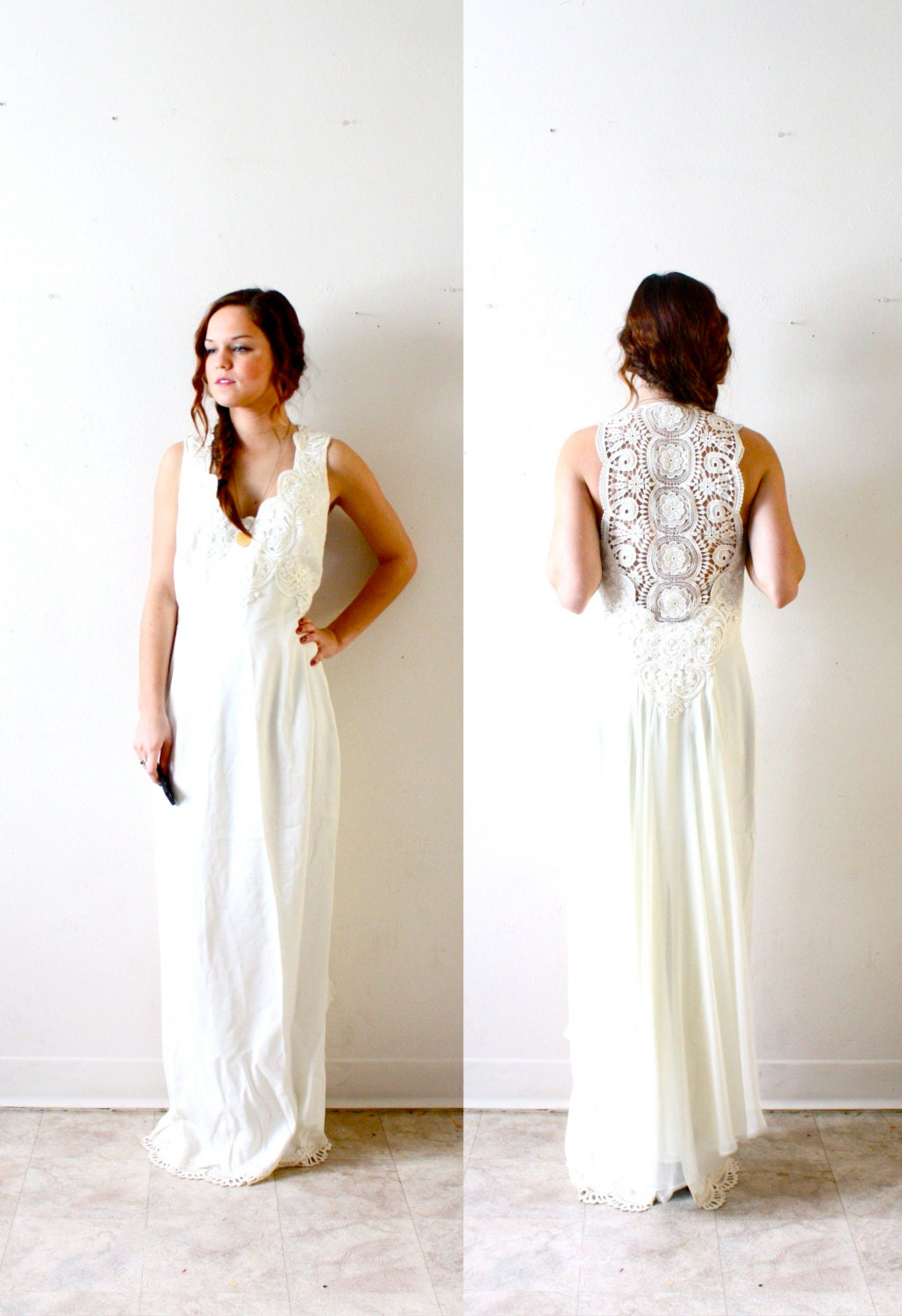 Boho Lace Wedding Dress Etsy : Vintage bohemian hippie all lace back wedding dress