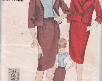 1960s Vogue Special Design 5647 Size 10 dress and jacket vintage sewing pattern suit faux top and skirt