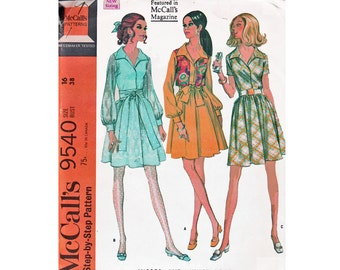 Size 16 Bust 38 UNCUT sewing Pattern McCall's 9540 from 1968 Dress Sash Vest 4 section full skirt collar shirt waist dress