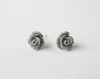 Grey Rose Bud Earrings - Stud Earrings - flower stud earrings - rose earrings - grey earrings -cabochon earrings - rose stud earrings - grey