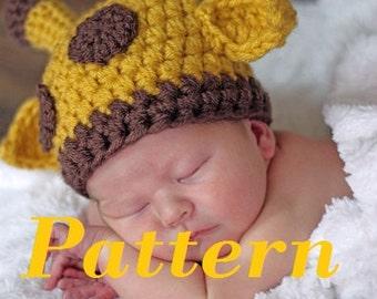 Crochet Hat Pattern Baby Giraffe Beanie Hat : Crochet giraffe hat pattern Etsy