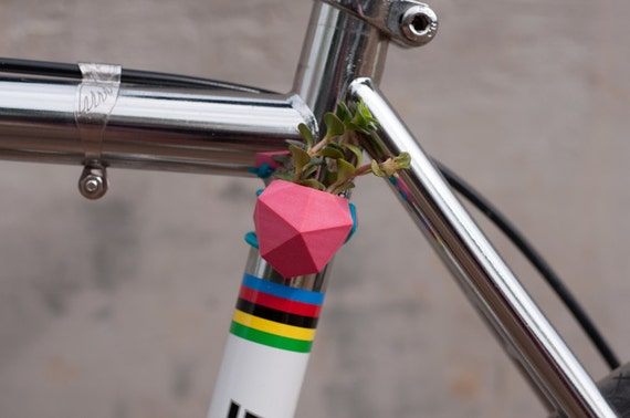 Geometric Bike Planter, in Pink: Wearable Planter