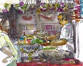 Sketch from India, Street Food Vendor, Paanwala, Mumbai - 8x10 fine art print