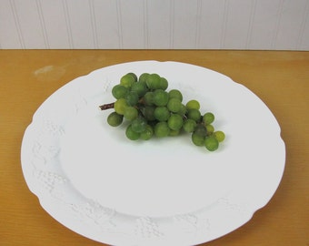 Indiana Glass Colony Harvest milk glass large torte plate or platter - vintage 1950s cake plate - vintage serving piece - grape pattern