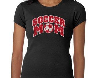 Women's Glitter Bling Soccer Mom shirt