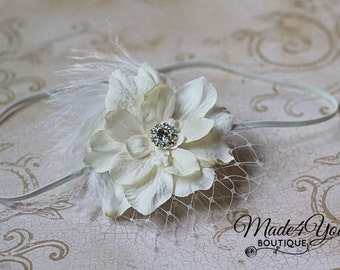 6 COLOR OPTIONS-Ivory Girl Headband-Flower Girl Headband-Wedding Headband
