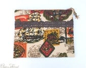 Padded iPad Cover with Vintage, Retro Travel Fabric, Zipper Case, Crocheted Lace Trim