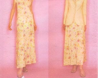 90s Emanuel Ungaro Womens Jacket & Cap Sleeved Maxi Dress Vogue Paris Original Sewing Pattern 1977 Size 6 8 10 Bust 30 1/2 to 32 1/2 UnCut