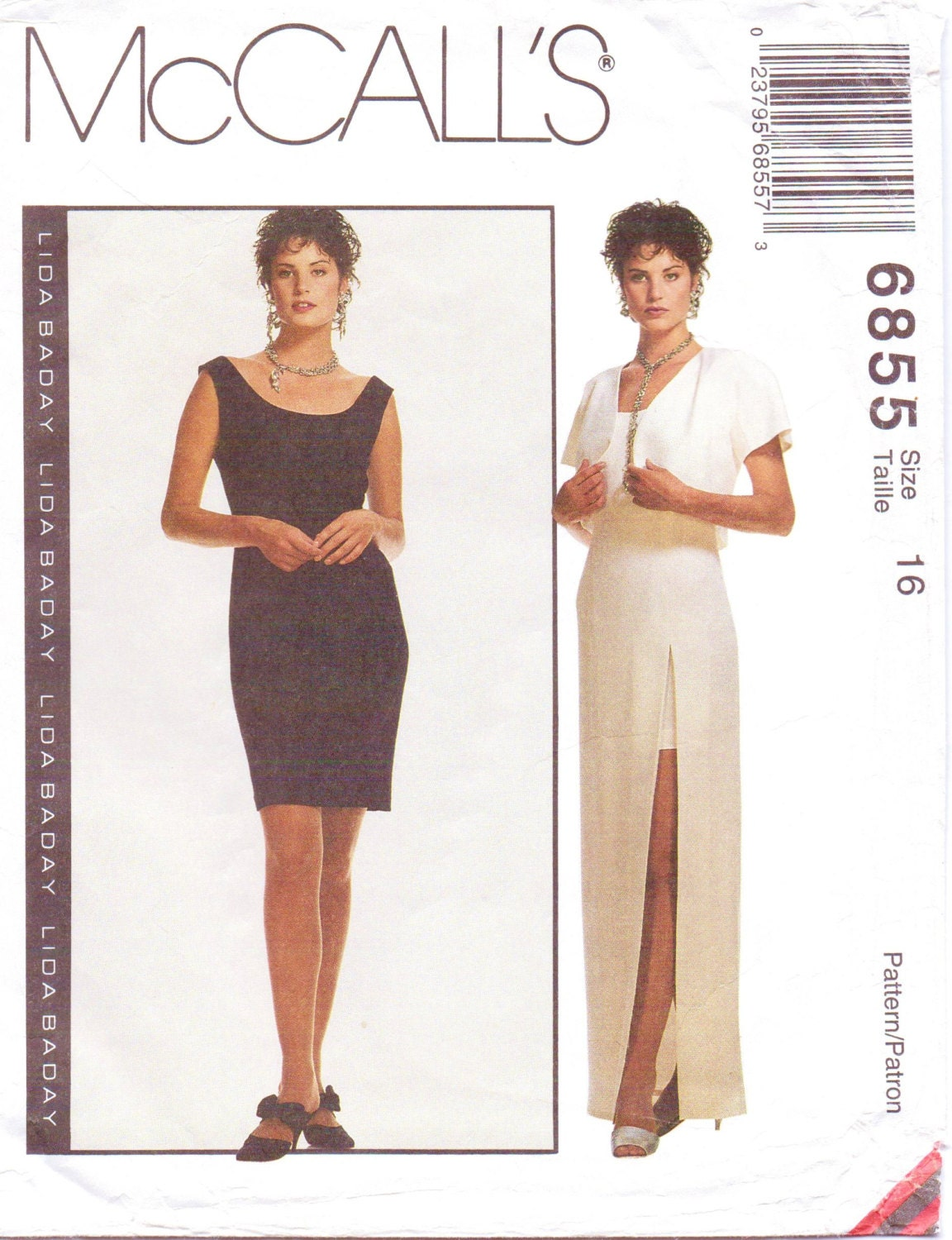 1990s Lida Baday dress and bolero pattern - McCall's 6855