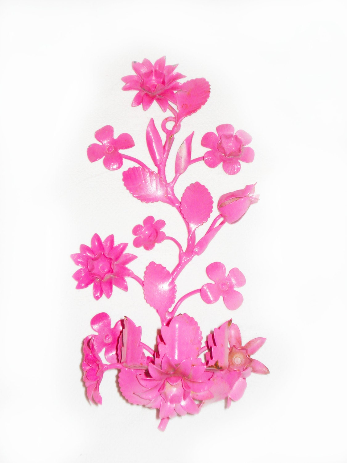 Vintage floral wall sconce hot pink sconce candle by RococoDecor