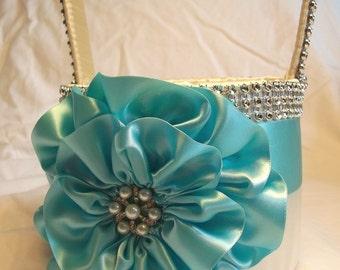 Aqua Blue Flower Girl Basket, Ivory Flower Girl Basket, Robin Egg Blue Satin Flower, Rhinestone Mesh handle and Trim, Custom Made to Order