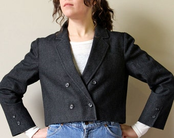 Grey Wool Cropped Blazer, 80s double breasted jacket tailored menswear inspired avant garde minimalist office suit