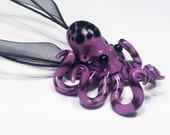 Small Glass Octopus pendant Purple Spotted