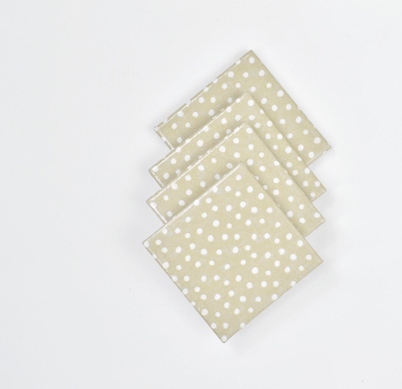 Ceramic Coasters White Cute Dots On Platinum Metallic By