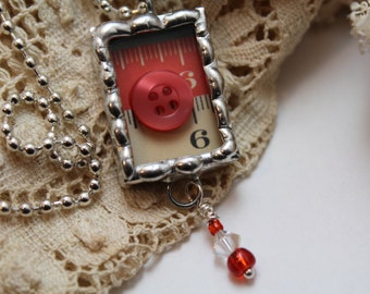 Silver Soldered Red Button Necklace