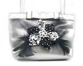 Upcycled Womens Handmade Handbag, womens purse, black & silver purse, recycled handbag, evening bag, feathers, flowers