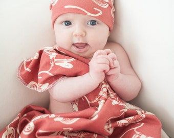Organic Tricycle Hat and Blanket - Organic Cotton Swaddle Blanket - You Choose Colors Trike Gift For Baby- Eco Friendly
