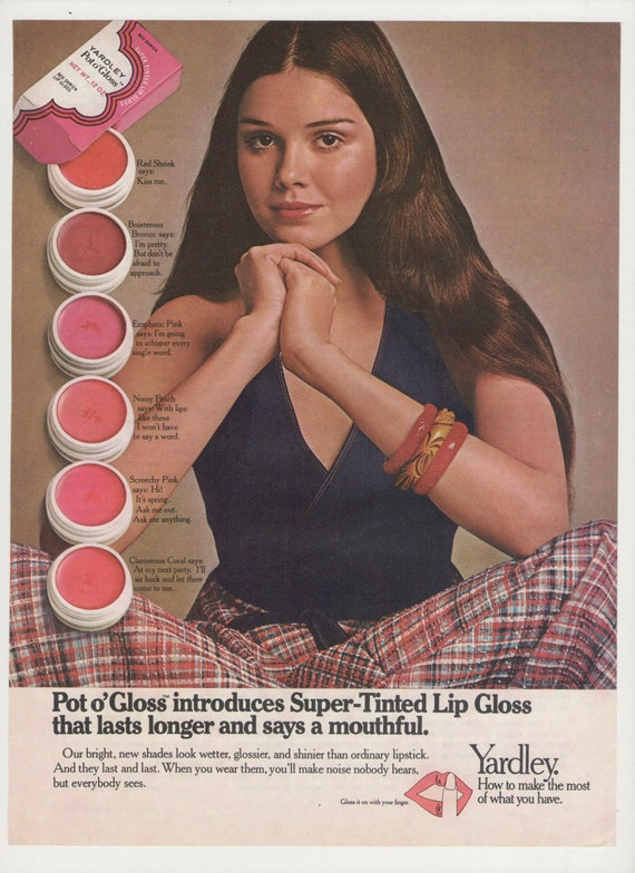 1972 Yardley Pot O Gloss Lip Gloss Advertisement 72 70s Make