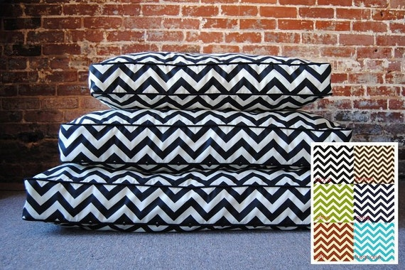 Chevron Dog Bed - washable dog bed - high end dog beds - small to large