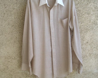 Vintage Mens Shirt Lightweight Long sleeve Cotton Striped Beige / White Size L Vintage by DILMA