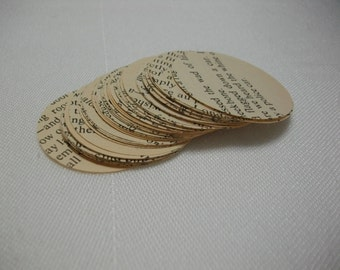 Paper Ephemera, 70 Pieces of 1 7/16 Inch Circles from Vintage 1960s Book Pages, Scrapbooking or Art Supplies Ephemera