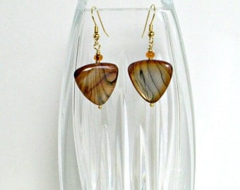 Striped Triangle Shell Drop Earrings on gold tone nickel-free fish hooks / ladies earrings / shell earring jewelry
