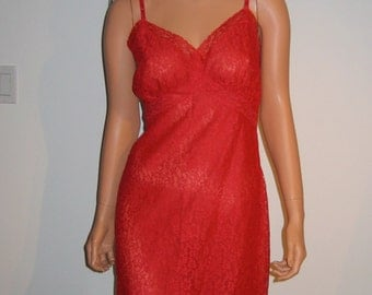 Vintage 1950 Red Lace & Sheer Chiffon, full slip. All Nylon.  Van Raalte.  Re-sewn Costume.  As found.