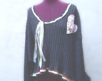 Gypsy  Cropped Sweater Bohemian  Eco Friendly Plus Size 3x  4X 5X