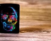 Custom Engraved Black Matte X-Ray Skull Zippo Lighter - Engraving Included