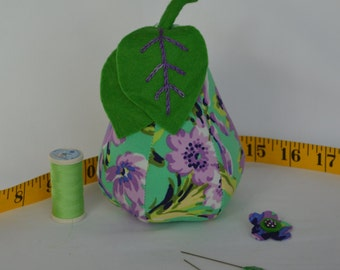 Pear Pin Cushion-Purple and Green