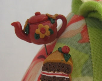 Sewing Pin Toppers Red Teapot and Cake