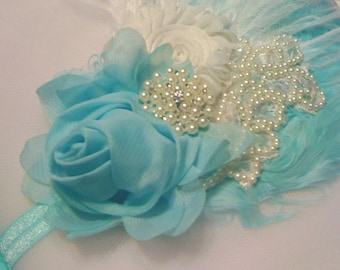Girls Baby Aqua Flower Headband Flower Lace Hair Accessories