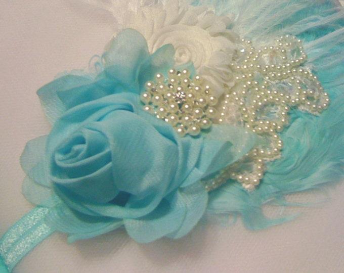 Girls Baby Aqua Flower Headband Flower Lace Hair Accessories