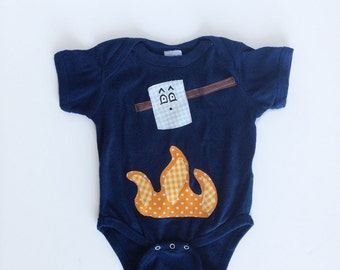 Baby Camping One Piece, Toasted Marshmallow Navy Blue Bodysuit