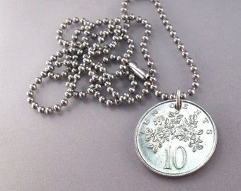 JAMAICAN NECKLACE /  jewelry /  coin necklace /  coin jewelry.  chain.  flower coin. coat of arms. 10 .  No.001369