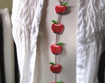 Gift for Teacher Red Apple Necklace Copper Long Chain Autumn Harvest Trend