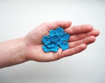 Crochet Flower Appliques, Tiny Small Cute Flowers, Decorative Motifs, Bright Turquoise Blue, Set of 10, Embellishments, Scrapbooking