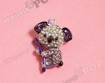 1 - 3D Kawaii Koala Purple Silver Tone Rhinestone Charm, Koala Charm, Koala Pendant (3-1I)