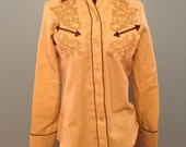 vintage ladies dress country western shirt in tan and gold