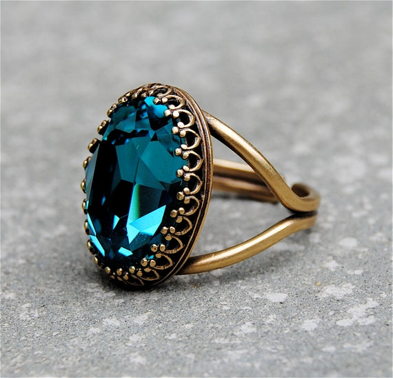 Dark Teal Blue Crystal Cocktail Ring Crown Ring Swarovski
