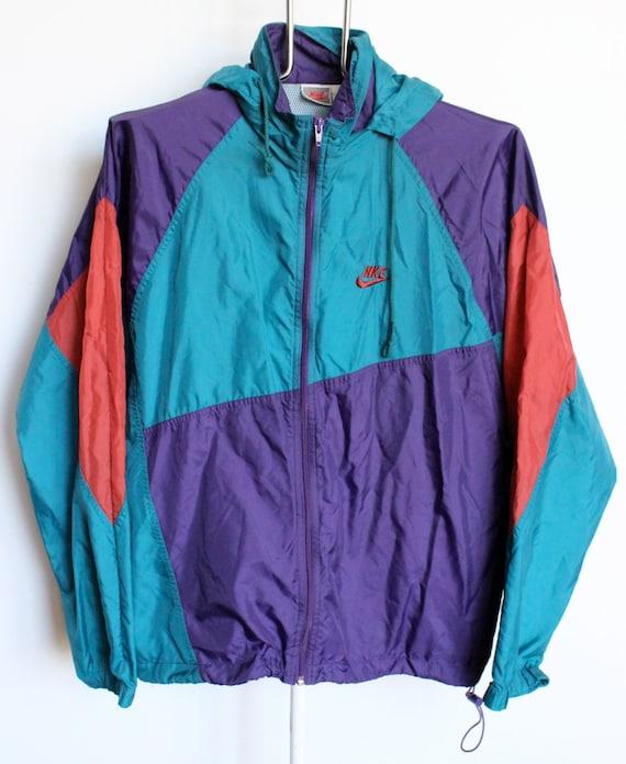 vintage nike windbreaker jacket mens large turquoise purple