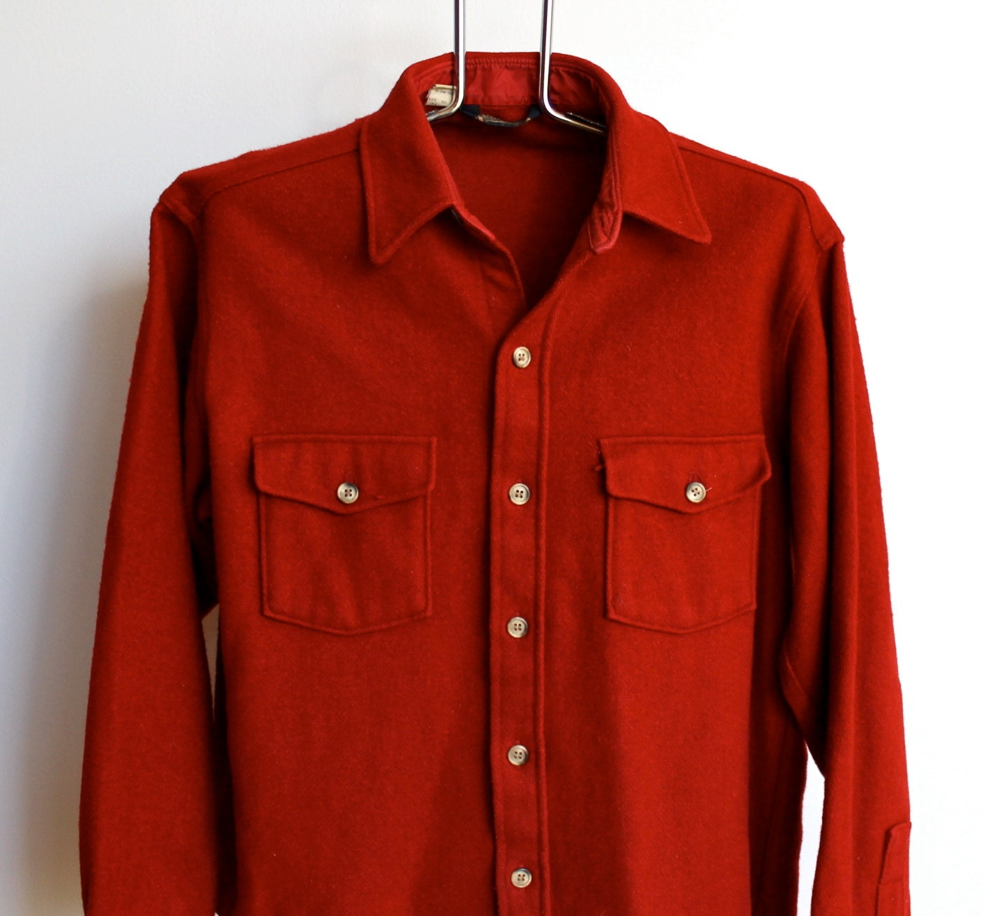 Mens Vintage Wool Blend Lands End Shirt Size Medium Red 70s