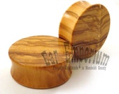 "Olivewood Wooden Plugs PAIR - 7/8"" (22mm) 1"" (25.5mm) 1 1/8"" (28mm) 1 1/4"" (32mm) 1 1/2""(38mm) 1 3/4""(44mm) - Wood Gauges, Large Sizes"
