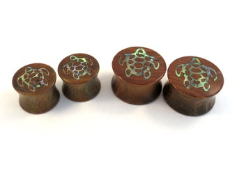 "Sea Turtle Abalone Inlay Lignum Vitae Wooden Plugs - 00g (10mm) 7/16"" (11mm) 1/2"" (13mm) 9/16"" (14mm) 5/8"" (16mm) 3/4"" 7/8"" Ear Gauges"