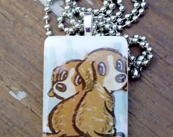Shelter Pups  Game Tile Pendant Necklace